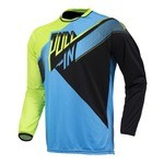 Maillot manches longues Pull-In Race BMX - Cyan/LimeNoir